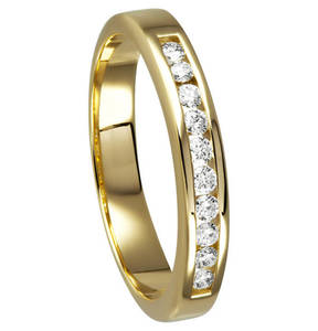 Moncara             Ring 585 Gelbgold mit 10 Diamanten, zus. ca. 0,20 ct.