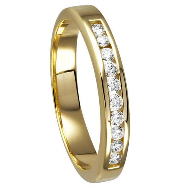 Moncara             Ring 585 Gelbgold mit 10 Diamanten, zus. ca. 0,20 ct.