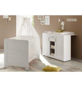 Babyzimmer Spar-Set »Landhaus«, Babybett+Wickelkommode, (2-tlg.), in Pinie NB/weiß