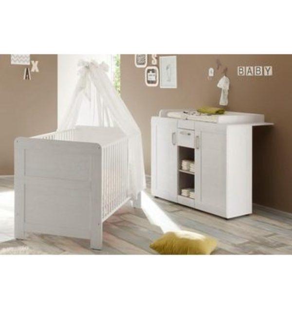 Babyzimmer Spar Set Landhaus Babybett Wickelkommode 2 Tlg In