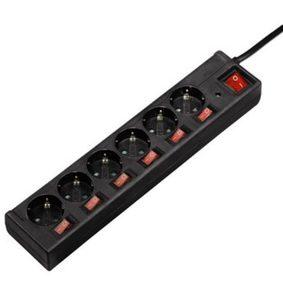 Hama Mehrfachsteckdose Steckdosenleiste 6-fach, 45° gedreht »1,4 m, schwarz«