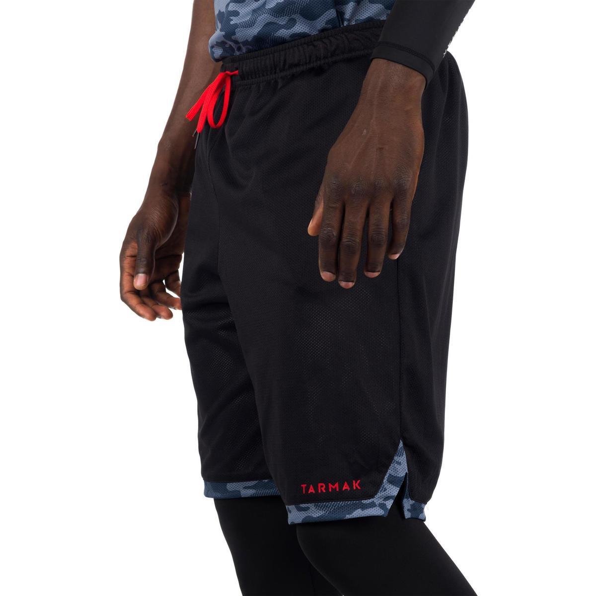 Bild 4 von Basketball Wendeshorts Herren schwarz/camouflage grau