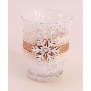 Windlicht mit Schneeflocke Glas ca. 9 x 11,5 cm