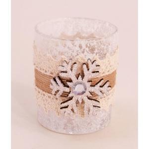 Windlicht mi Schneeflocke Glas ca. 6 x 7,5 cm