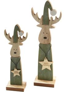 Deko-Holz-Elche mit Stern, 2er-Set