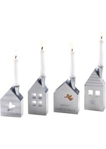 Häuser mit Kerzenhalter, 4er-Set