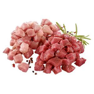 Frisches Fonduefleisch oder Raclettefleisch, gemischt aus Schweine- und Rindfleisch, je 1 kg
