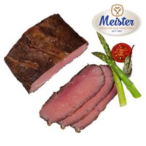 Meister Roastbeef zart-rosa gebraten, in dünnen Scheiben geschnitten, je 100 g