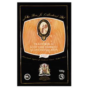 John Ross Schottischer Räucherlachs Traditionell geräuchert oder mit einer feinen Balvenie-Whisky Note, jede 100-g-Packung