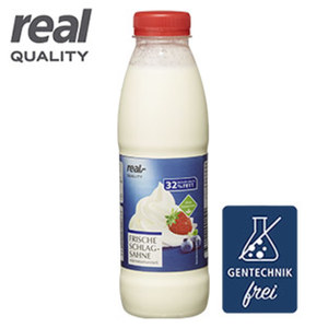 Frische Schlagsahne 32 % Fett, jede 500-g-Flasche