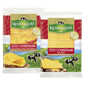 Kerrygold Irischer Cheddar Scheiben Irischer Hart- und Schnittkäse, 48/50 % Fett i. Tr., versch. Sorten,  jede 150-g-Packung