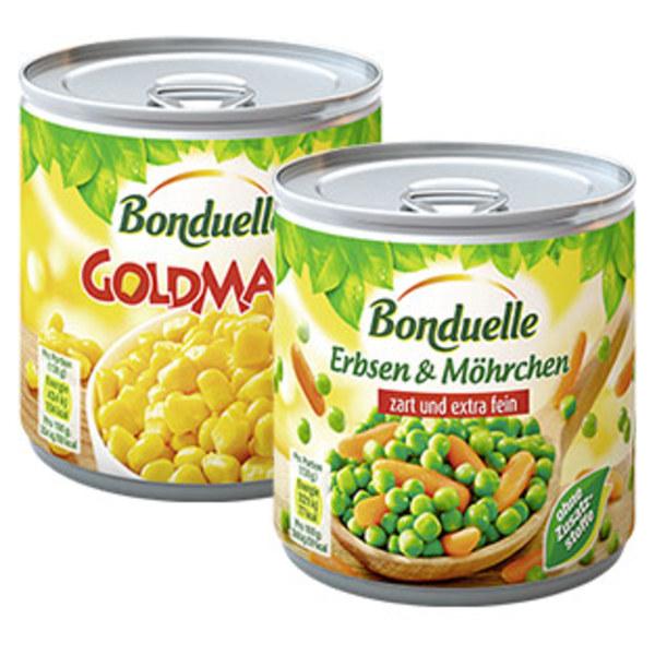 Bonduelle Goldmais oder Gemüsekonserven jede 425-ml-Dose/285/265 g Abtropfgewicht