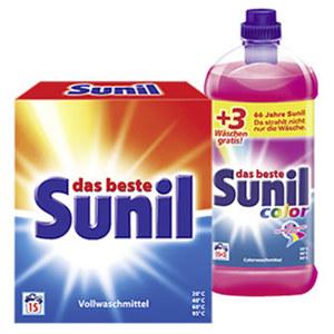 Sunil Waschmittel 15,15+3 Waschladungen, versch. Sorten, jede Flasche