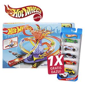 Volcano Highway Trackset ab 5 Jahren, 1x Gratis dazu! 1 Hot Wheels 5er-Geschenkset im Wert von 8,99 €. Neben der Ware.