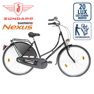 Hollandrad Amsterdam - Shimano-Nexus-3-Gang-Nabenschaltung, Drehgriffschalter - Alu-V-Bremse-vorne, Rücktrittbremse - Rahmenhöhe: 50 cm (28er) - Rahmenschloss