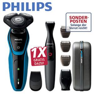 Rasierer S5050/67 Vorteilspack · ComfortCut-Klingensystem · 5-min-Schnellladung für eine Rasur, 1x Gratis dazu! Philips Multigroom-Set + Etui. An der Ware.