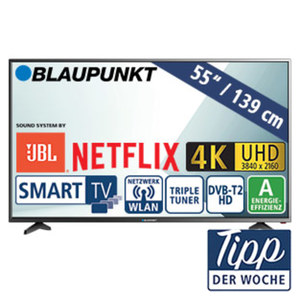 """55""""-Ultra-HD-LED-TV BLA-55U405P • 3 HDMI-/2 USB-Anschlüsse, USB 3.0, CI+ • 2 x 10 Watt RMS • Standby: 0,5 Watt, Betrieb: 110 Watt • Maße: H 72,4 x B 124,2 x T 8,5 cm • Energie-Effizienz"""