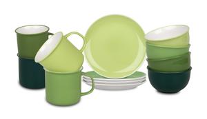 Waechtersbach Elements Jungle Kaffeeservice aus Porzellan 12er-Set, Farbe Hellgrün, Grün, Dunkelgrün