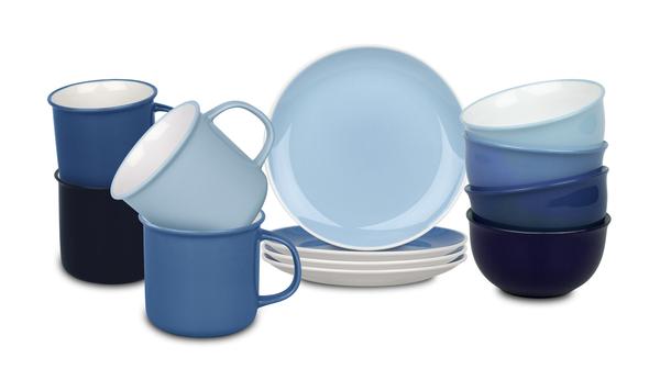 Waechtersbach Elements Ocean Kaffeeservice aus Porzellan 12er-Set, Farben Hellblau, Blau, Dunkelblau