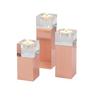 Villa Noblesse Deko-Teelicht-Halter 3er-Set, eckige Säulenform Metall/Glas