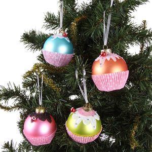 Weihnachtsbaumschmuck Muffin 7cm 4er-Set