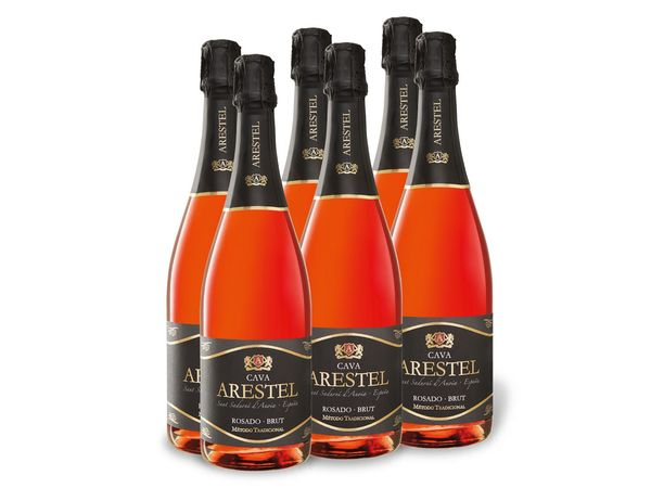 6 x 0,75-l-Flasche Weinpaket Arestel Cava DO Rosado, brut