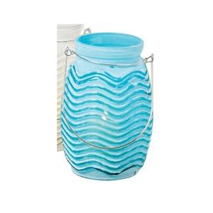 Windlicht Wavy Glas Türkis lackiert ca. 13 cm