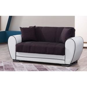 2-Sitzer Sofa Samba Kunstleder Weiß/Braun ca. 170 x 83 x 86 cm