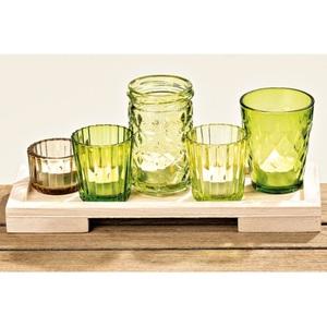 Windlicht Freya Holz/Glas Farbmix 6-teilig