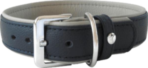 Das Lederband Hundehalsband Amsterdam, Navy / Grey, Breite 30 mm / Länge 50 cm