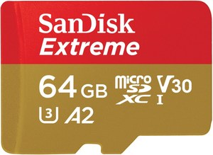 Sandisk microSDXC Extreme (64GB) Speicherkarte + Adapter