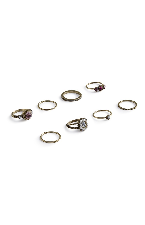 Ringe in Antikoptik, 8er-Pack