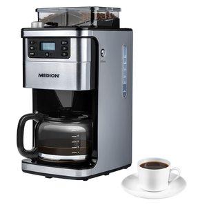 MEDION Kaffeemaschine mit Mahlwerk MD 15486, 8 Mahlstufen, 1,5 Liter Wassertank, 1050 Watt