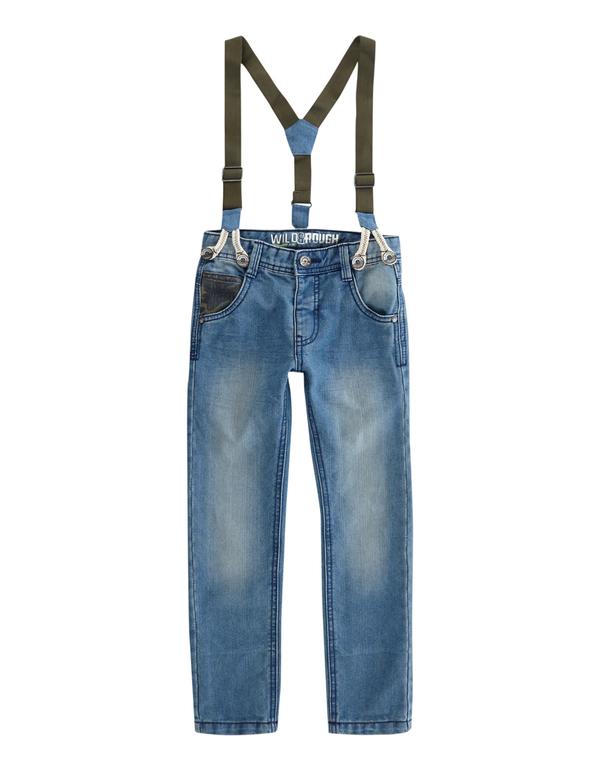 Jungen Stone Washed Jeans mit Hosenträgern