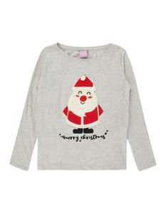 Mädchen Longsleeve mit Weihnachtsmann-Applikation