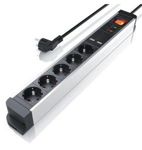 Arendo 5-fach Steckdosenleiste mit 2x USB-Ports (2000mA / 5V) »integrierter Kinderschutz / 1,5m«