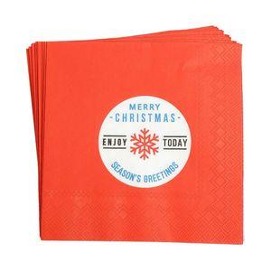Serviette Season Greetings, 20 Stück, FSC® Mix, B:17cm, rot