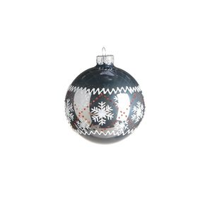 Kugel Snowflakes, Glas, D:8cm, graublau
