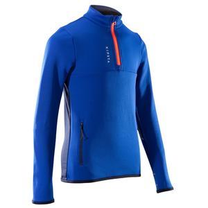 Trainingsshirt Fußballtraining T500 Reißverschluss Kinder blau/schwarz