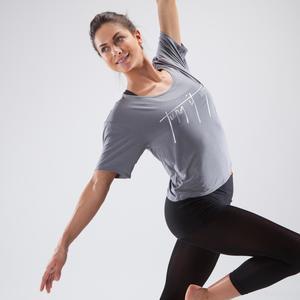 Tanz-Shirt kurz Damen grau