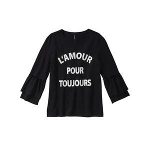 Girls Damen-Shirt mit Rüschen an den Ärmeln
