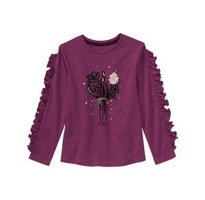 Kids Mädchen-Shirt mit Blumen-Frontaufdruck