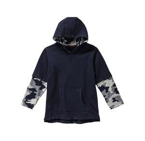 Kids Jungen-Kapuzenpullover mit Ärmeln in Camouflage-Optik