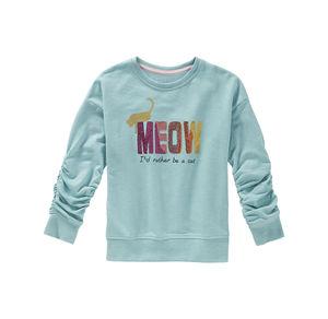 Kids Mädchen-Sweatshirt mit glitzerndem Katzen-Frontaufdruck