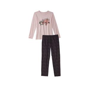 Mädchen-Schlafanzug mit Faultier-Frontafdruck, 2-teilig