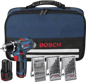 Bosch Professional GSR12V-15 Akku-Bohrschrauber 12 V 1.5 Ah Li-Ion inkl. 2. Akku, inkl. Zubehör, inkl. Tasche