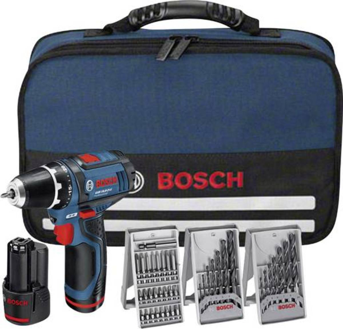 Bild 1 von Bosch Professional GSR12V-15 Akku-Bohrschrauber 12 V 1.5 Ah Li-Ion inkl. 2. Akku, inkl. Zubehör, inkl. Tasche