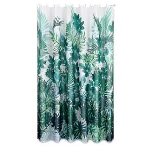 Duschvorhang JUNGLE - grün-weiß - 180x200 cm