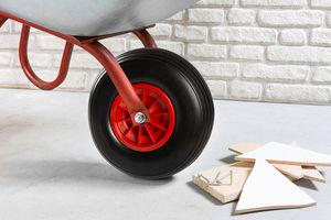Kraft Werkzeuge Universal Schubkarrenrad Set mit Achsadaptern 4tlg. - rot/schwarz