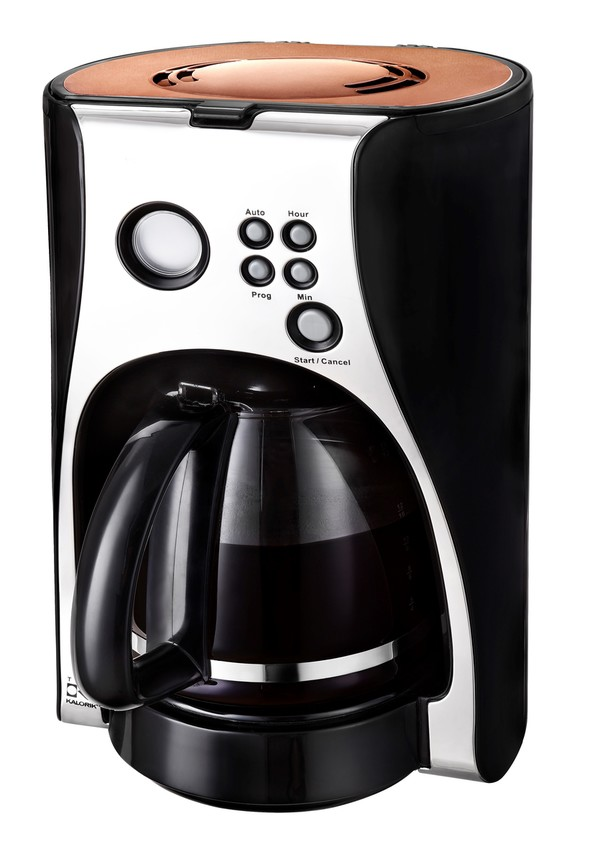 Kalorik Kaffeeautomat TKG CM 1050 im eleganten Copper-Look, Glaskanne 12 Tassen, Programmierbarer Ti
